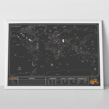 Scratch Map - World Map - Chalk edition