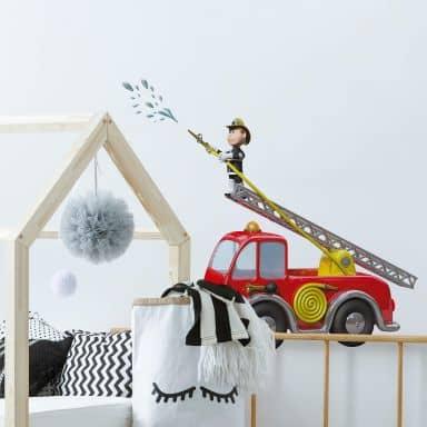 Adesivo murale Michel Agullo - Pompiere in azione