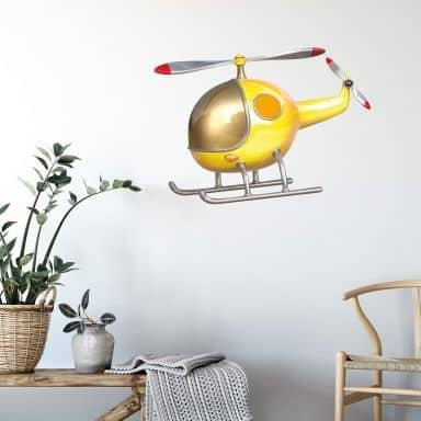 Wandtattoo Michel Agullo - Helikopter (gelb)