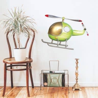 Wandtattoo Michel Agullo - Helikopter (grün)