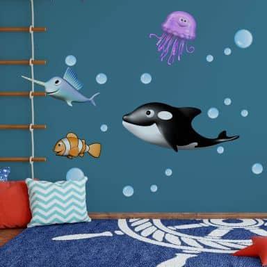 Wall sticker set Agullo - Sea Animals