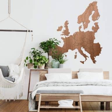 Houten kaart van Europa - mahonie fineer