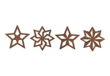 Holzkunst Mahagoni - Baumschmuck Sterne Geo (4-teilig)