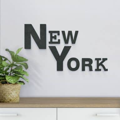 Lettere in legno MDF   New York misto