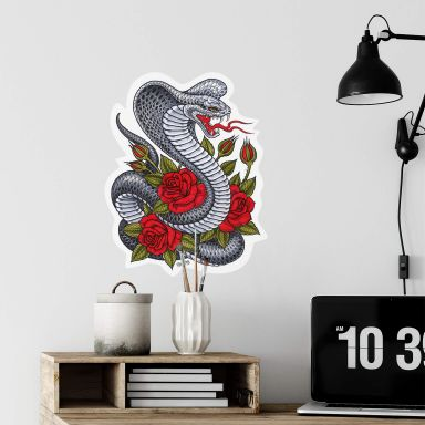 Sticker mural - Miami - Ink - Cobra et roses