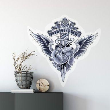 Sticker mural - Miami Ink - Coeur et poignard