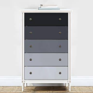 Möbelfolie, Dekofolie - abwischbar - Farbverlauf Grau - 5er Set