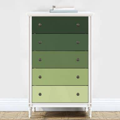 Möbelfolie, Dekofolie - abwischbar - Farbverlauf Grün - 5er Set