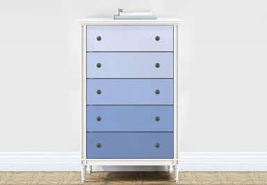 Möbelfolie, Dekofolie - abwischbar - Farbverlauf Hellblau - 5er Set