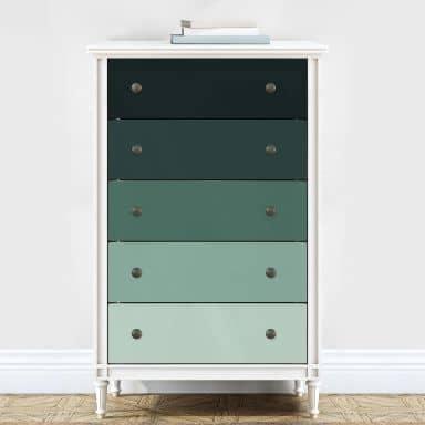 Möbelfolie, Dekofolie - abwischbar - Farbverlauf Mint - 5er Set