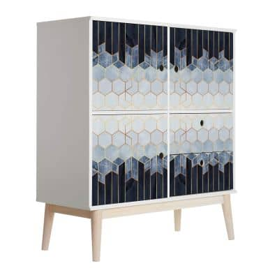 Furniture Wrap - self adhesive - Fredriksson - Blue & White Hexagons