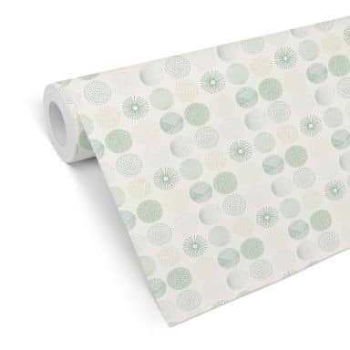 Mustertapete - abstrakte Kreise 01 - grün