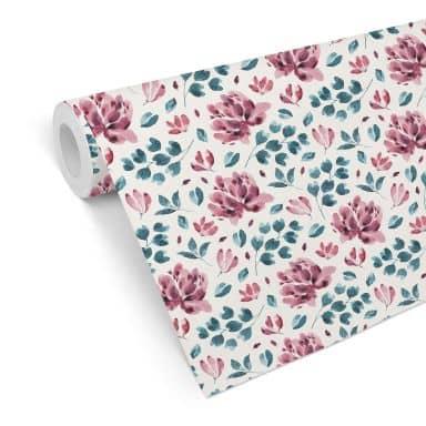 Mustertapete - Aquarell Blüten 03 - pink
