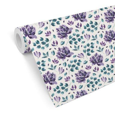 Mustertapete - Aquarell Blüten 03 - violett