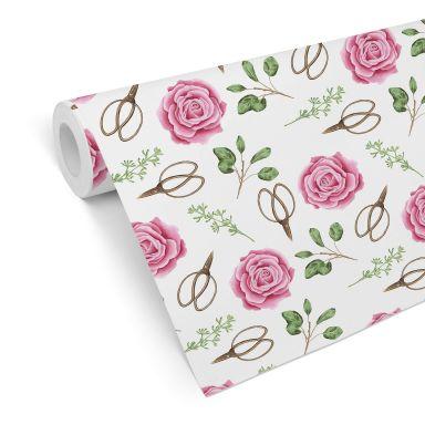 Mustertapete - Aquarell Blüten 04 - rosa