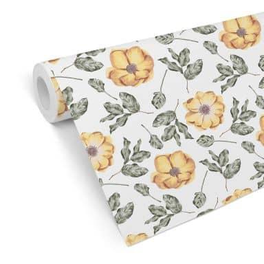 Mustertapete - Aquarell Blüten 05 - gelb