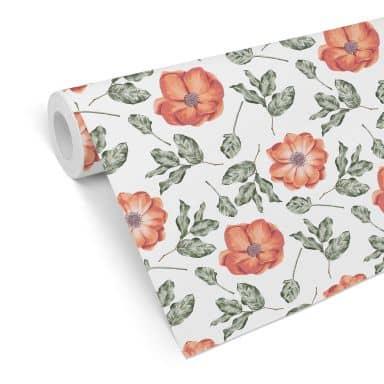 Mustertapete - Aquarell Blüten 05 - rot