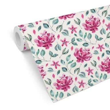 Mustertapete - Aquarell Blüten 02 - pink
