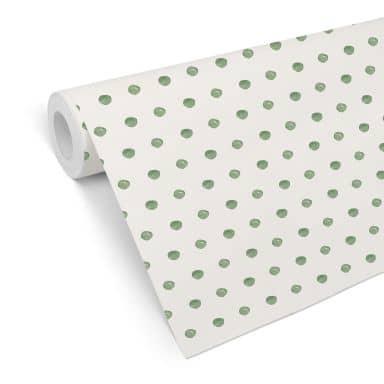 Patterned Wallpaper – Watercolour Dots 02 – green