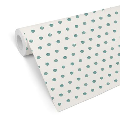 Patterned Wallpaper –Watercolour Dots 02 turquoise