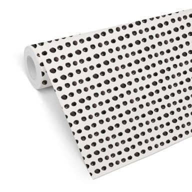 Mustertapete - Aquarell Punkte 01 - schwarz-weiß