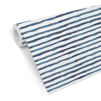 Patterned Wallpaper – Watercolour Lines 01 – blue