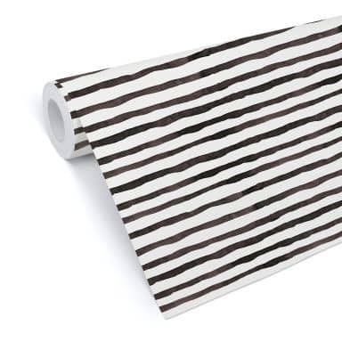 Mustertapete - Aquarell Streifen 01 - schwarz-weiß