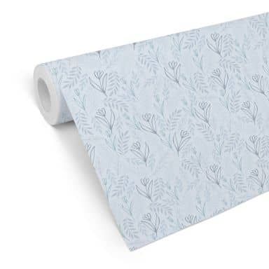 Mustertapete Graphic Flowers - Blumenfeld blau