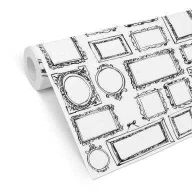 Mustertapete - Frame Your Life - schwarz-weiß