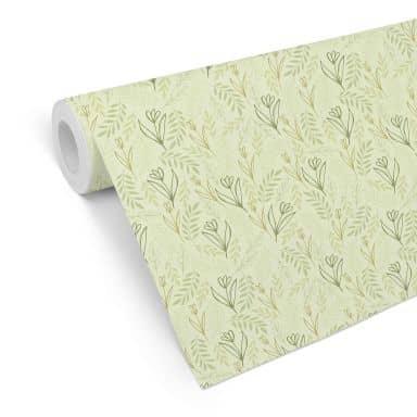 Mustertapete Graphic Flowers - Blumenfeld grün