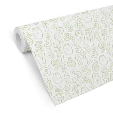 Mustertapete Zahlen 1x1 - grün