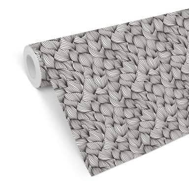 Mustertapete - Grafische Wellen - schwarzweiß