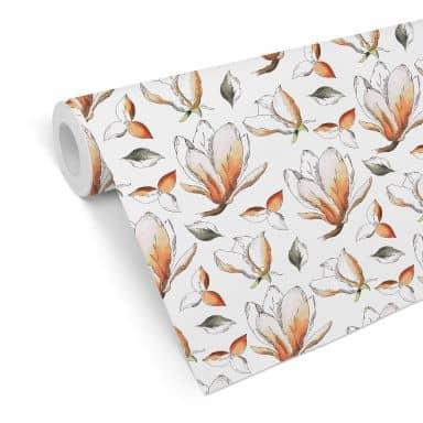 Mustertapete - illustrierte Blüten - orange