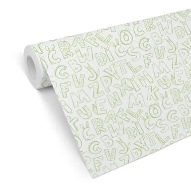 Patroonbehang – Kinderalfabet – groen