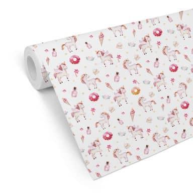 Patterned Wallpaper Kvilis - Sweet Unicorns 01
