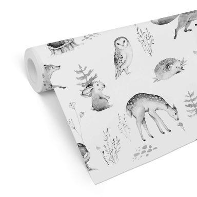 Patterned Wallpaper Kvilis - Forest Friends - black and white