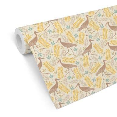 Patterned Wallpaper - Crane Bird