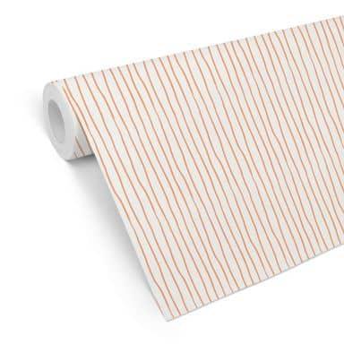 Papier peint à motifs Rayures - Orange