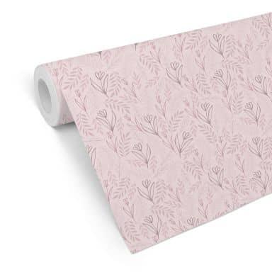 Mustertapete Graphic Flowers  - Blumenfeld rosa