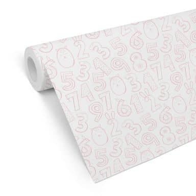 Mustertapete Zahlen 1x1 - rosa