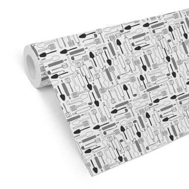 Mustertapete - Cooking Time - schwarz-weiß