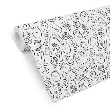 Mustertapete Zahlen 1x1 - schwarz-weiß