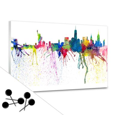 Pinnwand Bleichner - New York City Aquarell Skyline inkl. 5 Pinnnadeln