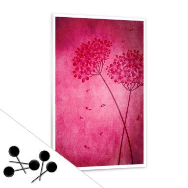 Tableau d'affichage - Hortensias roses et 5 épingles