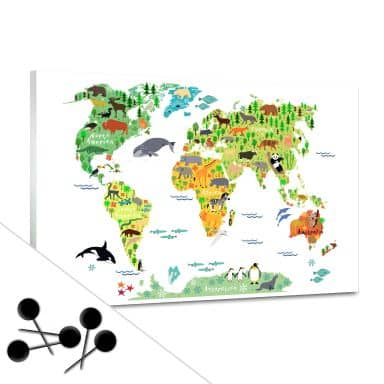 Bulletin Board World Map Animals