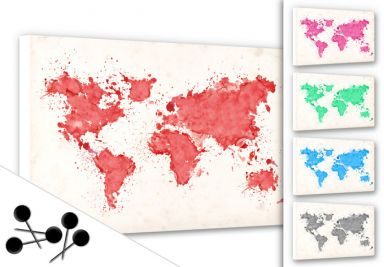 Wold Map Water Colour Bulletin Board