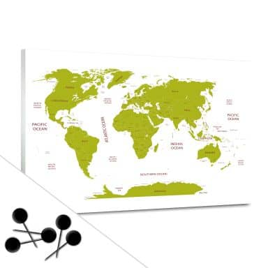 World Map Green Bulletin Board