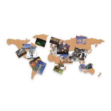 Carte du monde en liège autocollante