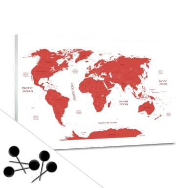 World Map Red Bulletin Board