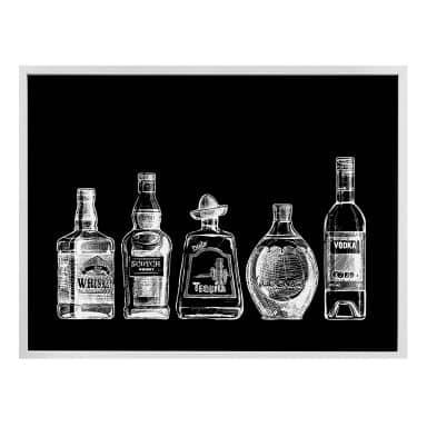 Poster 5 Flaschen voll Spaß - schwarz